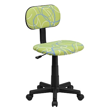 Flash Furniture Fabric Swirl Printed Green Computer Chair, Blue and White