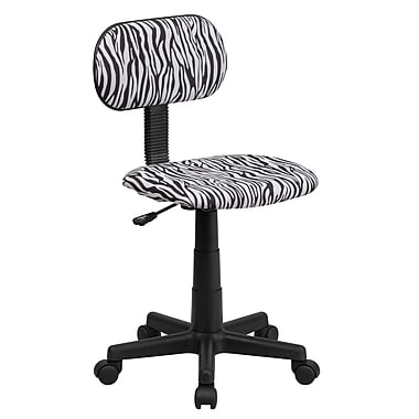 Flash Furniture Low-Back Fabric Task Chair, Armless, Black and White