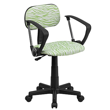 Flash Furniture BT-Z-GN-A-GG Fabric Low-Back Task Chair with Fixed Arms, Green/White