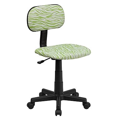 Flash Furniture Fabric Zebra Print Computer Chair, Green And White