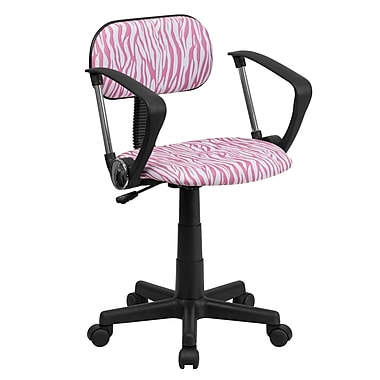 Flash Furniture Fabric Zebra Print Computer Chair With Arms, Pink And White