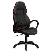 Flash Furniture High Back Vinyl Executive Office Chair With Red Pipeline Border, Black