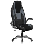 Flash Furniture High Back Vinyl Executive Office Chair with Black Mesh Insets and Flip Up Arms, Black and Gray