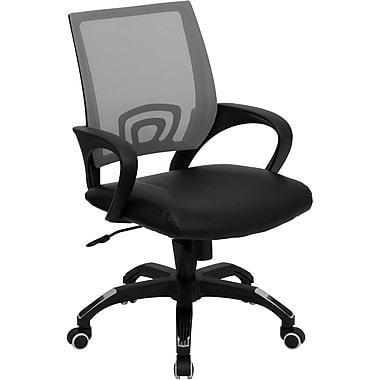 Flash Furniture Mid-Back Gray Mesh Computer Chair With Leather Seat, Black
