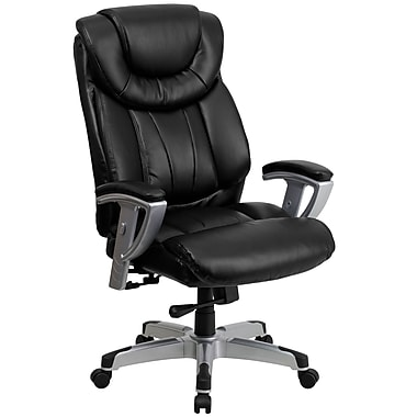 Flash Furniture HERCULES Series 400 lb. Capacity Big & Tall Leather Office Chair with Arms, Black