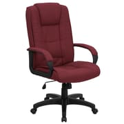 Flash Furniture GO5301BBY Fabric High-Back Executive Chair with Fixed Arms, Burgundy