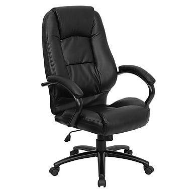 Flash Furniture High Back Leather Executive Office Chair With Padded Metal Loop Arms, Black
