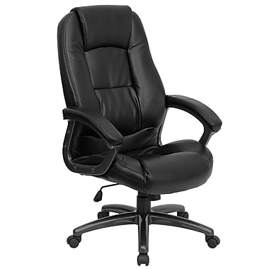 Flash Furniture GO7145BK LeatherSoft High-Back Executive Chair with Fixed Arms, Black