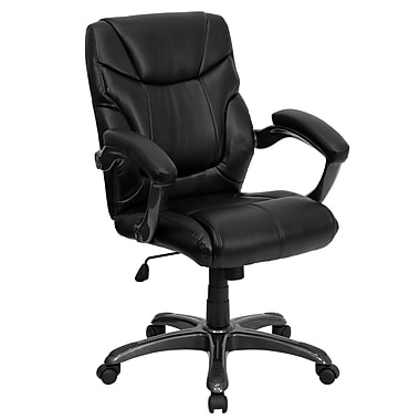 Flash Furniture Mid-Back Leather Overstuffed Office Chair, Black