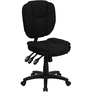 Flash Furniture GO930FBK Fabric Mid-Back Armless Task Chair, Black