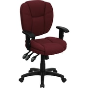 Flash Furniture Mid-Back Fabric Multi-Functional Ergonomic Task Chair with Arms, Burgundy