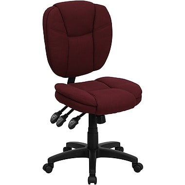 Flash Furniture Mid-Back Fabric Multi-Functional Ergonomic Task Chair, Burgundy