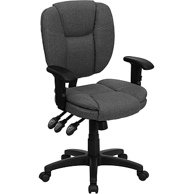 Flash Furniture GO-930F-GY-ARMS-GG Fabric Mid-Back Task Chair with Adjustable Arms, Gray