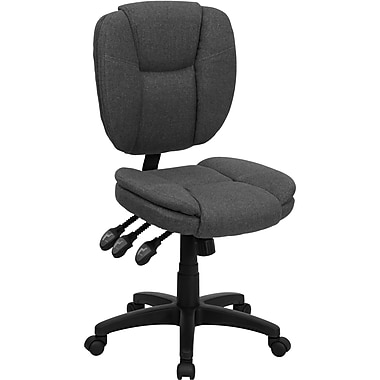 Flash Furniture Mid-Back Fabric Multi-Functional Ergonomic Task Chair, Gray