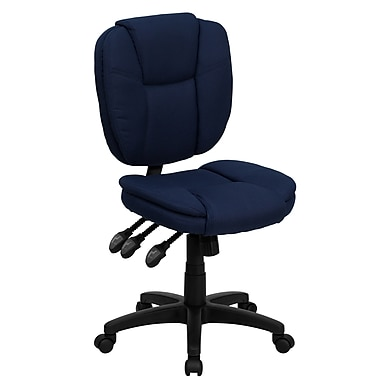 Flash Furniture GO-930F-NVY-GG Fabric Mid-Back Armless Task Chair, Navy Blue