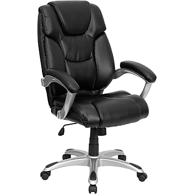 Flash Furniture High Back Leather Executive Office Chair With Double Padded Seat, Black