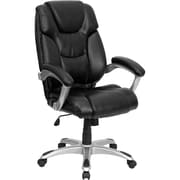 Flash Furniture High Back Contemporary Leather Executive Office Chair with Silver Base, Black
