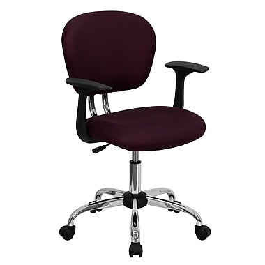 Flash Furniture Mesh Task Chair With Arms And Chrome Base, Burgundy