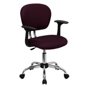 Flash Furniture H2376FBYARMS Mesh Mid-Back Task Chair with Fixed Arms, Burgundy