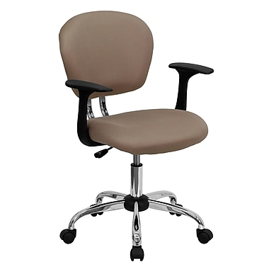 Flash Furniture H2376FCOFARMS Mesh Mid-Back Task Chair with Fixed Arms, Coffee Brown