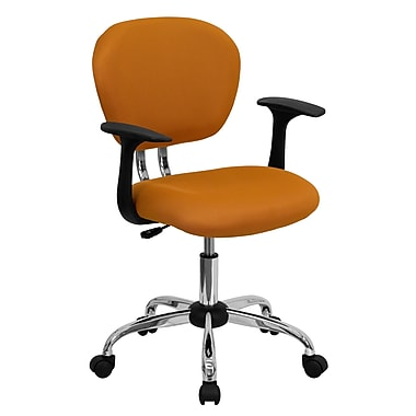 Flash Furniture Mid-Back Mesh Task Chair with Arms and Chrome Base, Orange