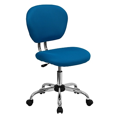 Flash Furniture H-2376-F-TUR-GG Mesh Mid-Back Armless Task Chair, Turquoise