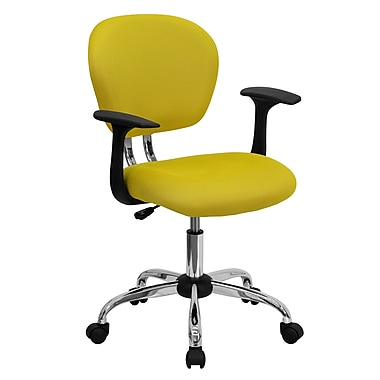 Flash Furniture Mid-Back Mesh Task Chair with Arms and Chrome Base, Yellow