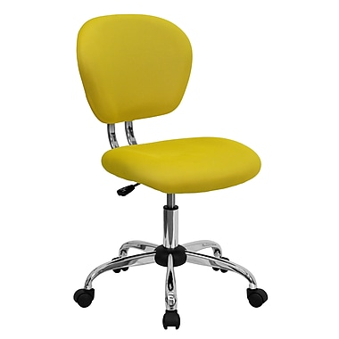 Flash Furniture Mid-Back Mesh Task Chair with Chrome Base, Yellow
