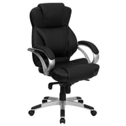 Flash Furniture High Back Leather Contemporary Office Chair with Loop Arms, Black
