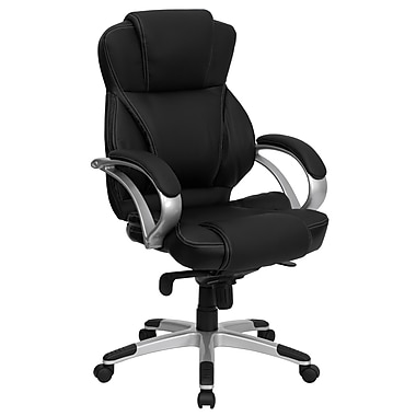Flash Furniture High Back Leather Contemporary Office Chair With Infinite-Locking Tilt, Black