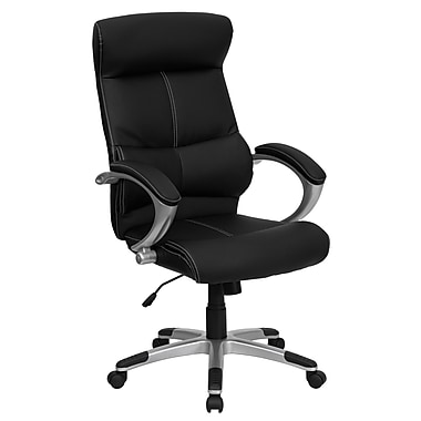Flash Furniture High Back Leather Executive Office Chair With Contrasting White Stitch, Black
