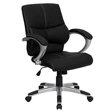 Flash Furniture Leather Manager's Office Chair, Fixed Arm, Black