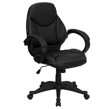 Flash Furniture Mid-Back Leather Contemporary Office Chair, Black