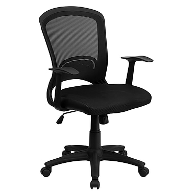 Flash Furniture Mid-Back Mesh Chair With Padded Mesh Seat, Black