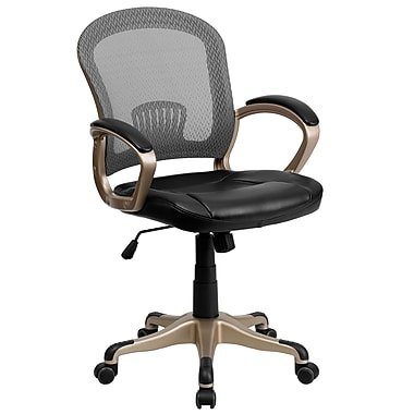 Flash Furniture Mid-Back Mesh Office Chair With Designer Arms, Black/Gray