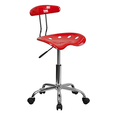 Flash Furniture Tractor-Style Plastic Task Chair, Armless, Red