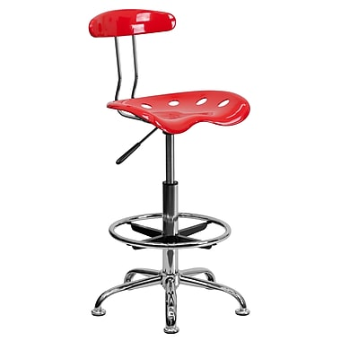 Flash Furniture Vibrant Drafting Stool With Tractor Seat, Cherry Tomato