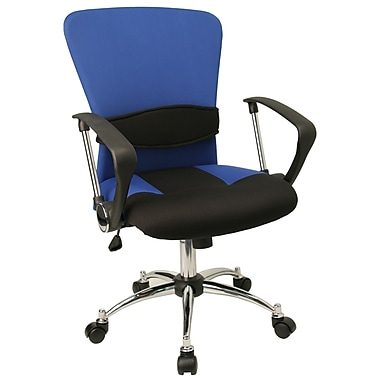 Flash Furniture LF-W23-BLUE-GG Mesh Mid-Back Task Chair with Fixed Arms, Blue/Black