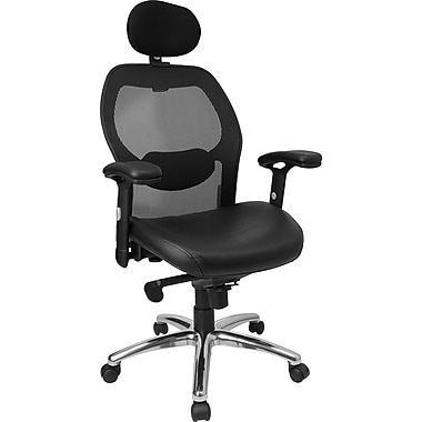 Flash Furniture High Back Super Mesh Office Chair with Italian Leather Seat and Knee Tilt Control, Black