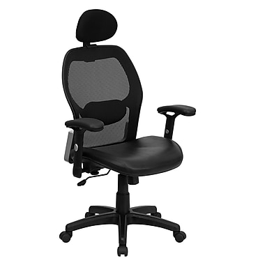 Flash Furniture High Back Super Mesh Office Chair With Italian Leather Seat, Black