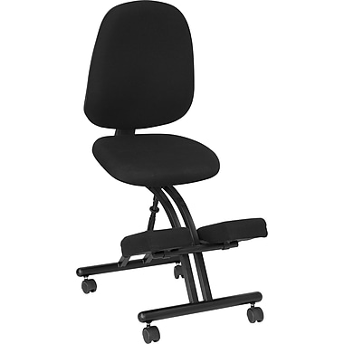 Flash Furniture Mobile Ergonomic Kneeling Posture Chair in Fabric With Back, Black
