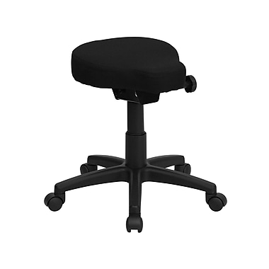 Flash Furniture Saddle-Seat Utility Stool With Height and Angle Adjustment, Black
