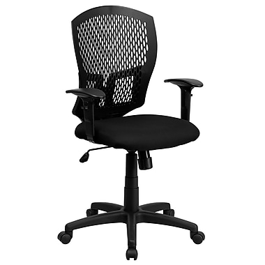 Flash Furniture Mid-Back Designer Back Task Chair with Padded Fabric Seat and Arms, Black