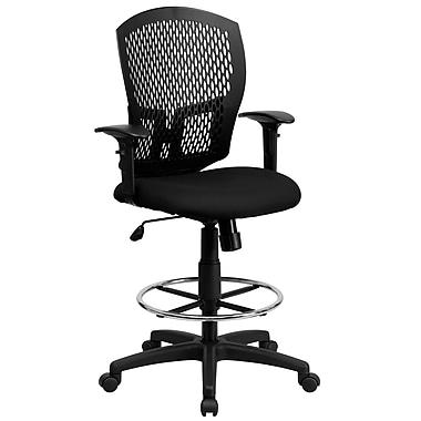 Flash Furniture Swivel Nylon and Plastic Drafting Stool, Adjustable Arm, Black