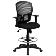 Flash Furniture Mid-Back Designer Back Drafting Stool With Padded Fabric Seat and Arms, Black