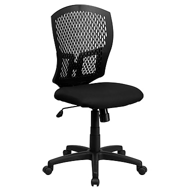 Flash Furniture WL-3958SYG-BK-GG Fabric Mid-Back Armless Task Chair, Black