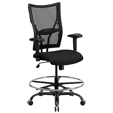 Flash Furniture HERCULES 400 lbs. Capacity Big & Tall Mesh Drafting Stool With Arms, Black