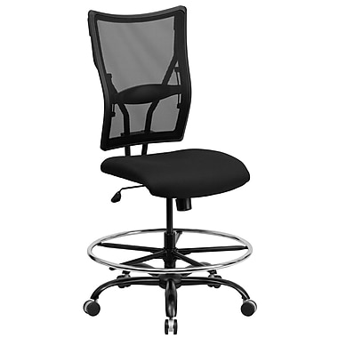 Flash Furniture HERCULES 400 lbs. Capacity Big & Tall Mesh Drafting Stool, Black