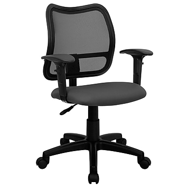 Flash Furniture Mesh Task Chair With Fabric Seat And Arms, Gray