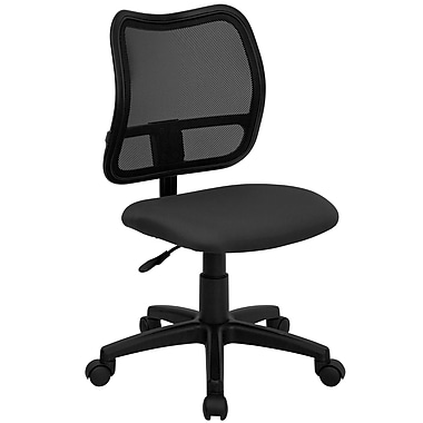 Flash Furniture Mid-Back Curved Mesh Task Chair with Fabric Seat, Gray
